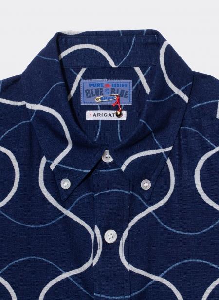 Woven Indigo Gauze Tatewaku Pattern Printed Shirt