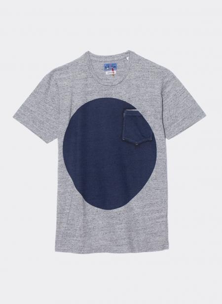 T-shirt en coton slub imprimé grand cercle à l'indigo