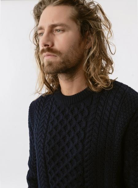 Cableknit Crew Neck Sweater Sunspel