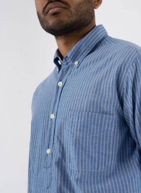 Chemise Chatham Polo Stripe Coton Lin Japonais
