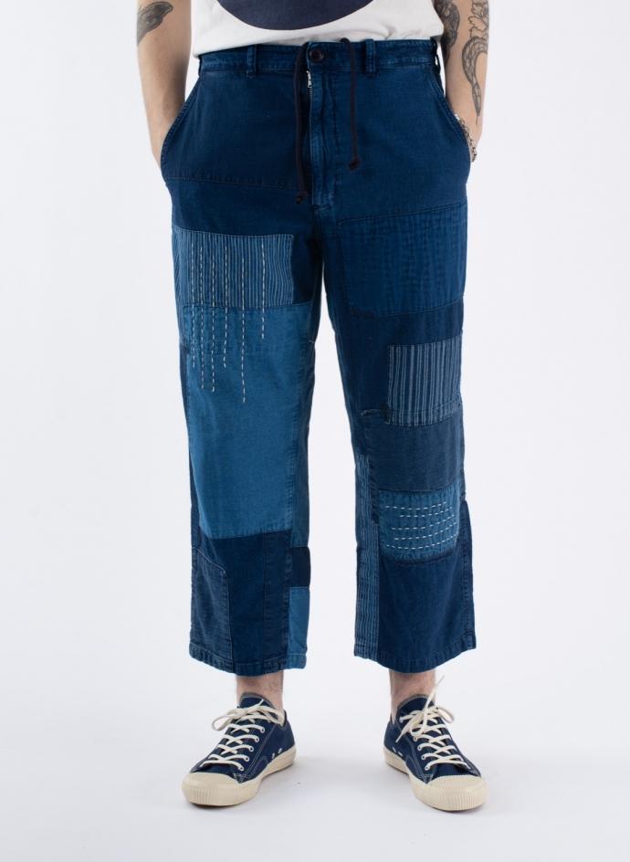 Indigo Light Cotton Flannel Patchwork 7/8 Length Relax