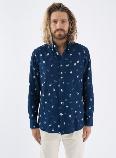 Indigo Twill Bouncing Dots Button Down Shirts