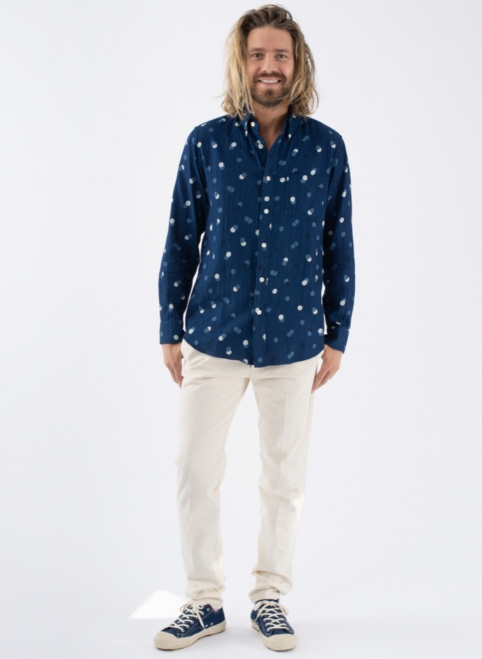Indigo Twill Bouncing Dots Button Down Shirts