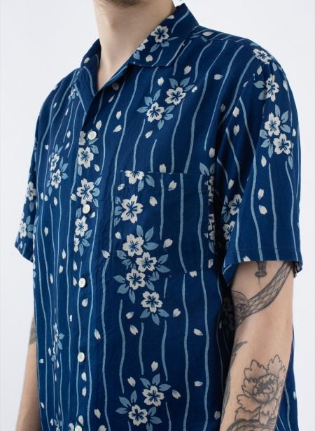 Indigo Lyocell Sakura Hanaikada Bassen Shirts