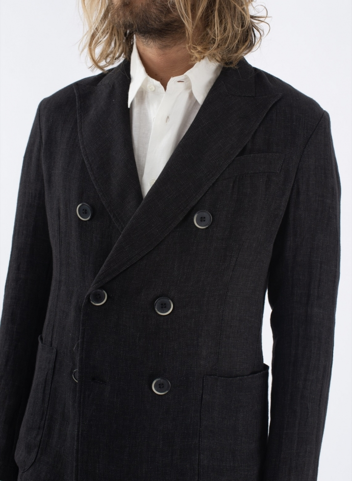 Double Breasted Jacket Linen-Cotton Blend