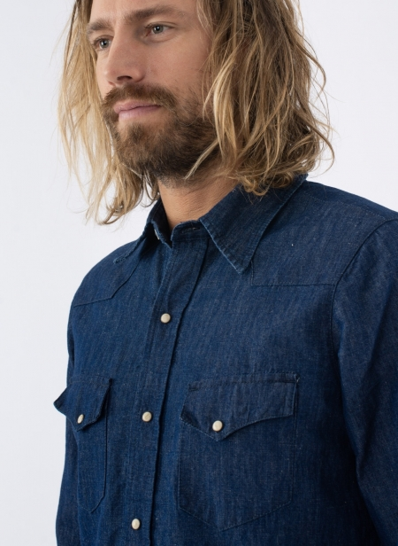 Western Shirt in Denim Cotton-Linen