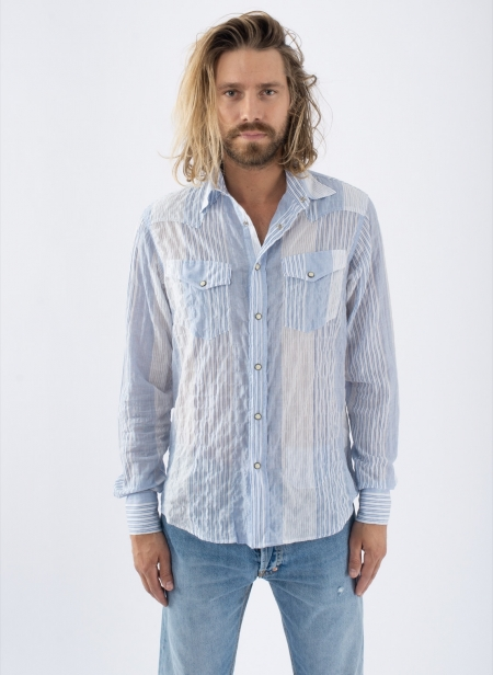 Chemise Western Patchwork Blue