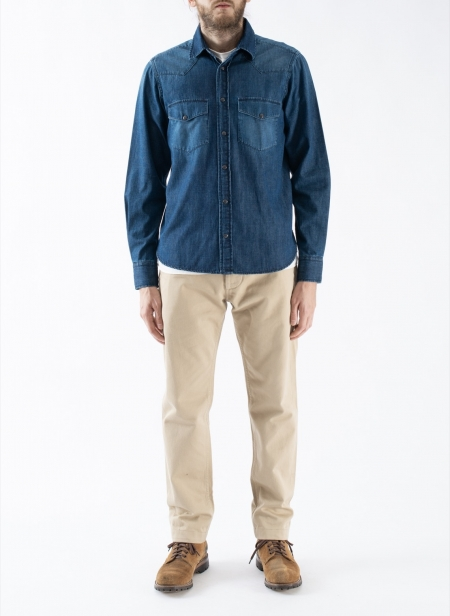 Chemise Slim-Fit Western en Denim Selvedge Japonais