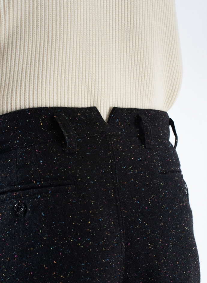 Double-Pleated Trousers in Wool Dots