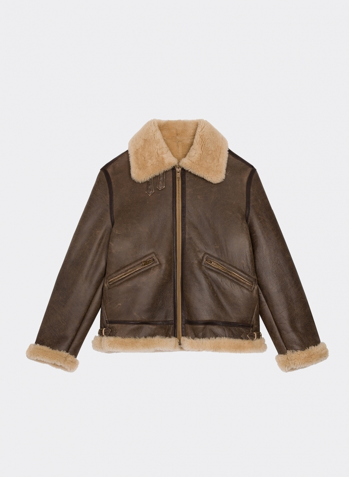 Military leather jacket B-3 Shearling