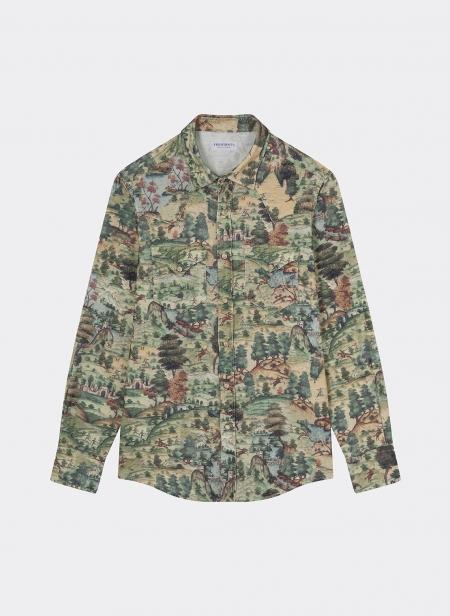 Lakota Shirt Velvet Mughal Print