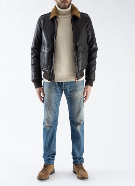G1 Vegetal Leather Down & Shearling Collar