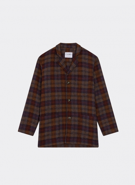 Wide Jacket Wool Check