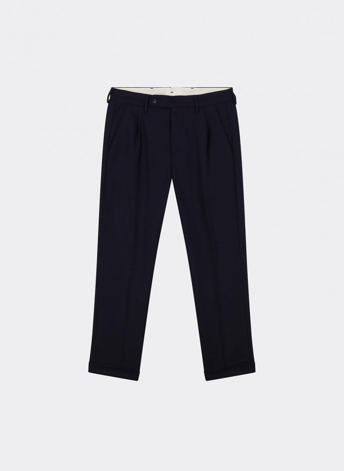 Plain Trousers Wool Navy