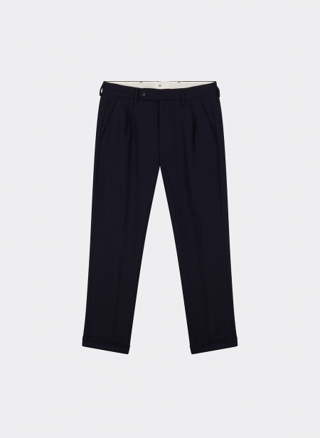 Plain Trousers Wool Navy