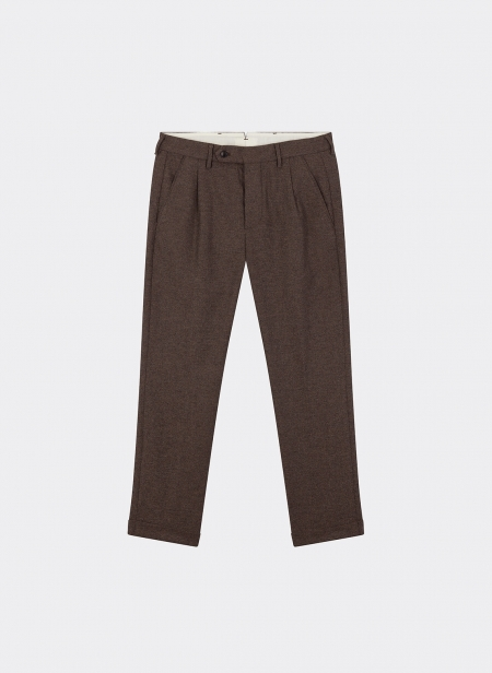 Plain Trousers Wool Brown