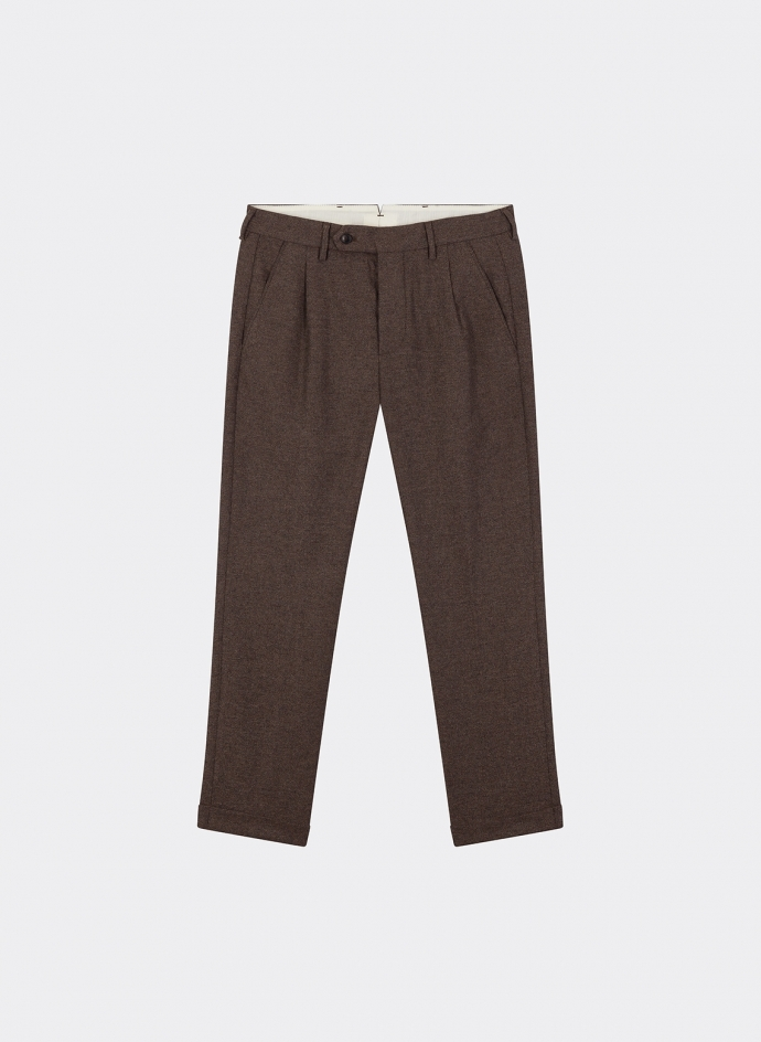 Plain Trousers Wool Brown
