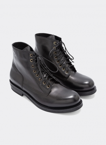 T-bone Leather Ankleboot Black