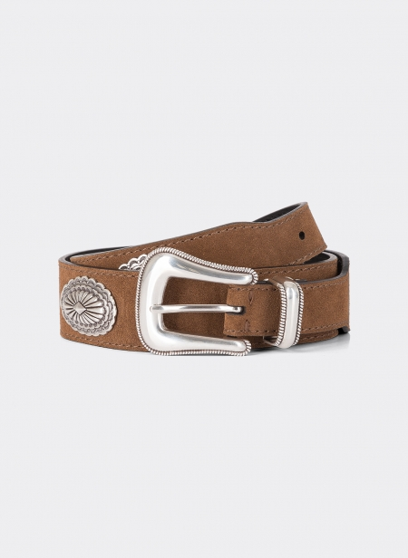 Suede Calfskin Oval Studded Belt