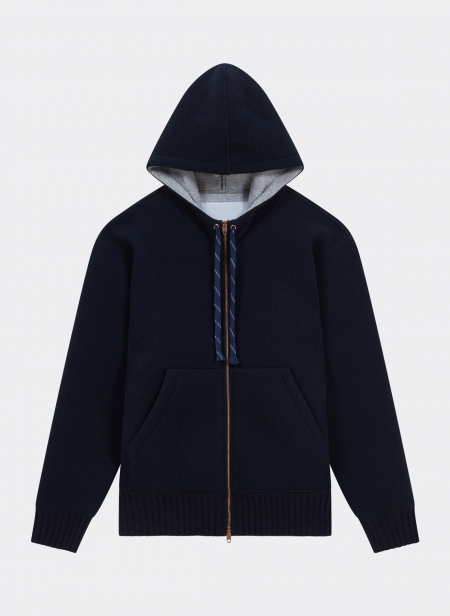 Bomber Zip Hood Pure Cashmere