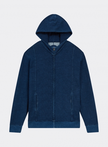 Sweatshirt Zip Hood Indigo Yarn Dyed