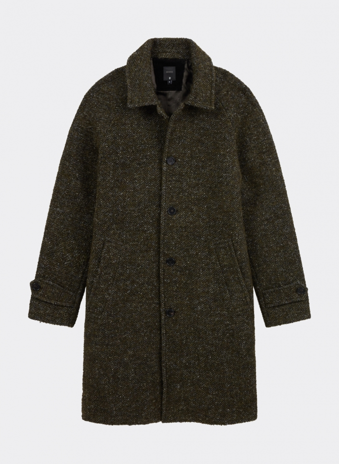 Overcoat in Herringbone Wool