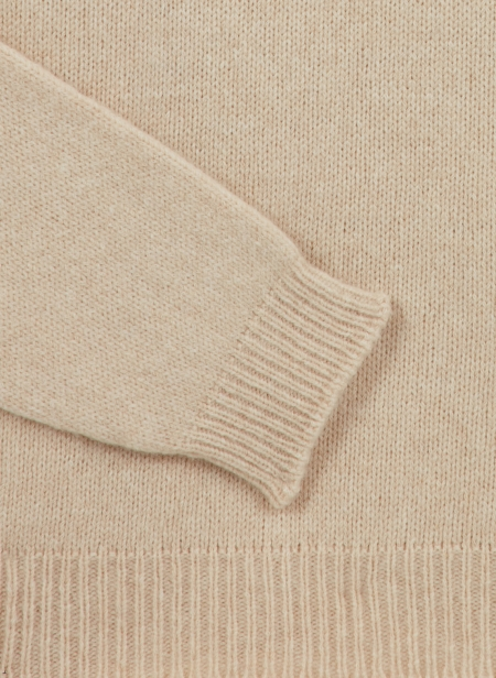 Crew Neck Jumper in Baby Camel Roberto Collina