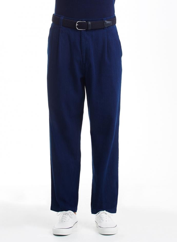 Sashiko Work Trousers Indigo Yarn Dyed Blue Blue Japan