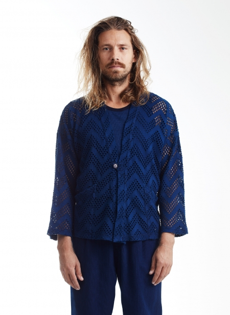 Mesh Hand Dyed Haori Jacket Blue Blue Japan