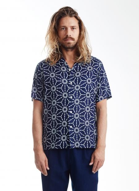 Shirt Asanoha Pattern Linen Indigo Blue Blue Japan