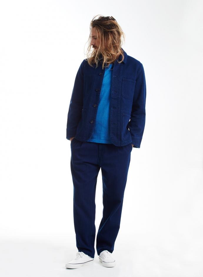 Tee Slub Cotton Pure Indigo Medium Colored Pocket Tee Blue Blue Japan