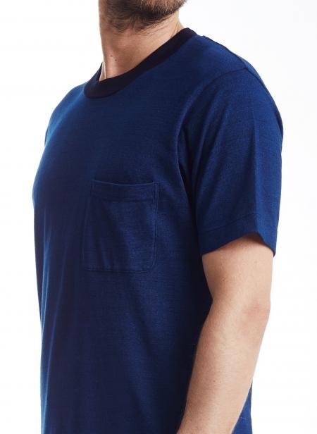 Tee Jersey Indigo Yarn Dyed Blue Blue Japan