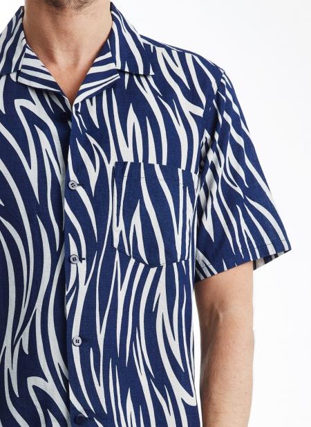 Gauze Wood Grain Pattern Bassen Shirt Open Collar Blue Blue Japan
