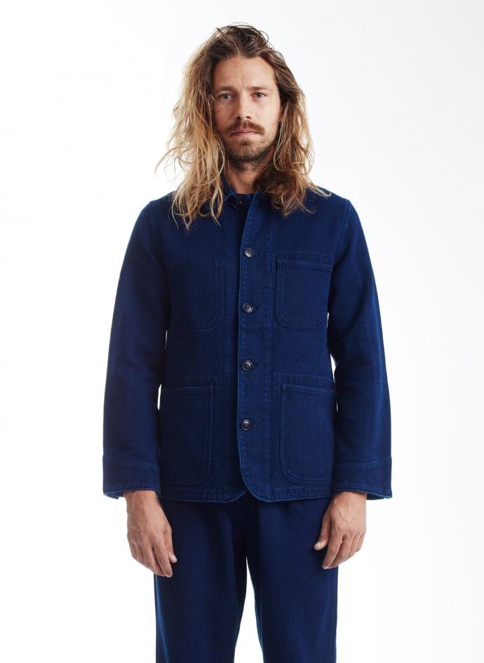 Coverall Jacket in Pure indigo Sashiko Blue Blue Japan
