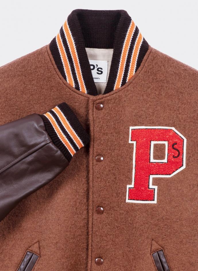 President's Bomber Varsity Wool Leather