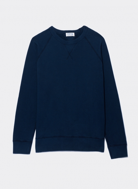 10oz Indigo Loopback Fleece Sweatshirt Velva Sheen