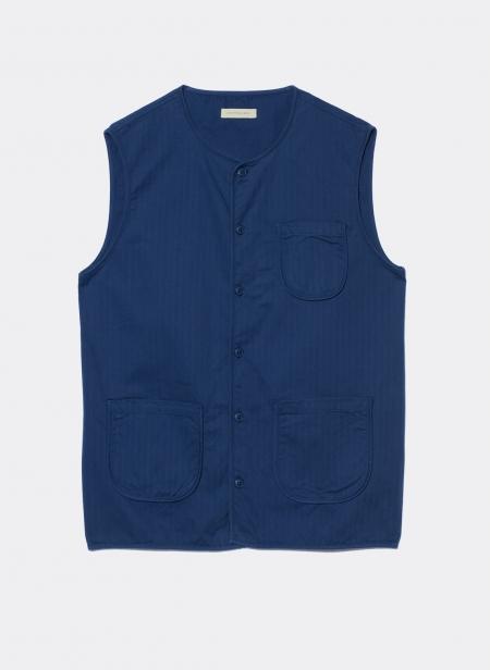 Collarless Herringbone Garment Dyed Vest Kestin Hare