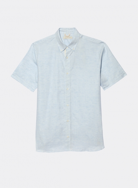 Cotton Linen Slub Jacquard Short Sleeve Shirt Kestin Hare
