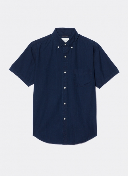 Short Sleeves Officer Shirt Ripstop Indigo Garment Wash