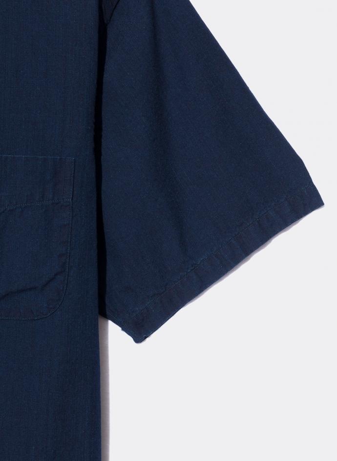 Short Sleeves Officer Shirt Ripstop Indigo Garment Wash