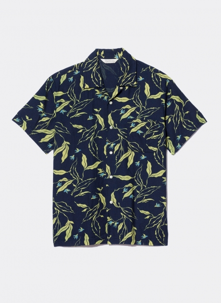 Short Sleeves Officer Shirt Rope Dye Indigo Panama Dischar